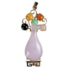 Lavender Jade Flower Vase 14k Gold Pendant Mixed Color Genuine Jade