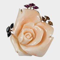 Carved Coral Rose 14k Gold Pink Tourmaline Sapphire Citrine Brooch Pendant