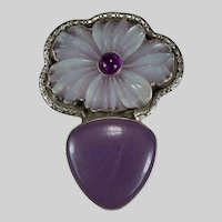 Carved Quartz Flower Mixed Gemstone 925 Sterling Designer Enhancer Pendant Brooch
