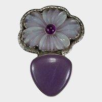 Carved Quartz Flower Mixed Gemstone 925 Sterling Designer Enhancer Pendant Brooch