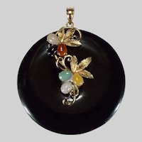 Natural Black Jade Disc 14k Gold Pendant Signed Hong Kong Mixed Color Jade