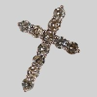 Natural Champagne Diamond Cross 1.39ctw 14k Rose Gold Religious Diamond Pendant
