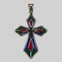 Plique A Jour Cross Pendant 14k Gold Michael Anthony Necklace
