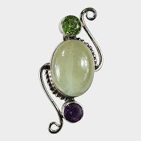 Amethyst Peridot Green Quartz Pendant 925 Sterling Silver Natural Quartz Crystal Mixed Gemstone Pendant