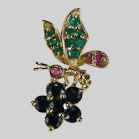 Ruby Sapphire Emerald Bee Pendant 14k Gold Mixed Gemstone Bee Jewelry