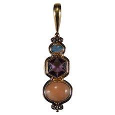 Opal Amethyst Coral 18k Rose Gold Designer Pendant