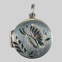 Butterfly Locket Sterling Silver Hair Photo Locket Pendant Charm