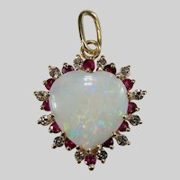 Natural Opal Heart Diamond Ruby Halo Pendant 5.76ctw 14k Gold Mixed Gemstone