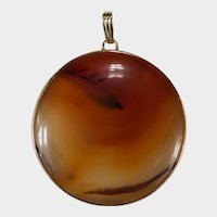 Natural Scottish Carnelian Agate Disc 14k Gold Large Polished Banded Agate Pendant