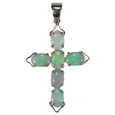 Natural Opal Cross Pendant 14k White Gold