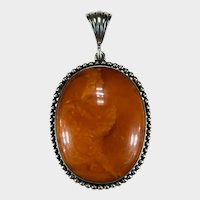 Antique Natural Butterscotch Amber Silver Pendant