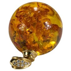 Natural Baltic Amber Pools Of Light Orb 18k Gold Diamond Pendant