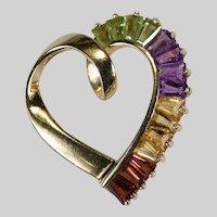 Amethyst Peridot Citrine Garnet Heart Pendant 14k Plumb Gold Mixed Gemstone Open Heart Slide