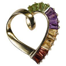 Amethyst Peridot Citrine Garnet Heart Pendant 14k Plumb Gold Mixed Gemstone Open Heart Slide