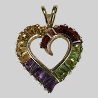 Amethyst Citrine Peridot Garnet Open Heart 10k Gold Mixed Gemstone Slide Pendant