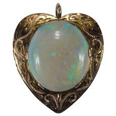 Antique Natural Opal Heart Pendant 7ctw 14k Gold Solitaire Boulder Opal