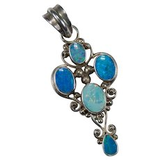 Mixed Opal Pendant 925 Sterling Silver Natural Precious Black Opal Crystal