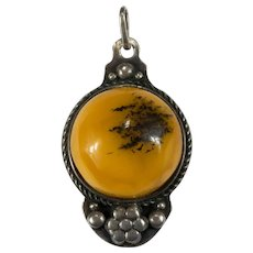 Antique Russian Amber Pendant 800 Silver Repousse Pansy Solitaire Pendant Baltic Butterscotch Egg Yolk Amber