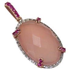 Natural Rose Quartz Ruby Diamond 14k Rose Gold Pendant