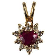 Heart Ruby Diamond Pendant 14k Solitaire Ruby Heart Diamond Halo