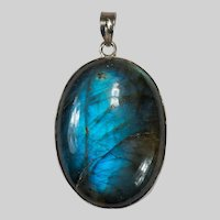 Natural Solitaire Blue Labradorite Stone 925 Sterling Pendant