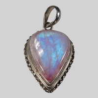 Natural Pink Blue Rainbow Moonstone 925 Sterling Pendant