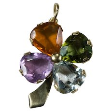 4 Leaf Clover Pendant 18k Mixed Gemstone