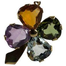 4 Leaf Clover Pendant 18k Mixed Gemstone Aquamarine Tourmaline Citrine Amethyst