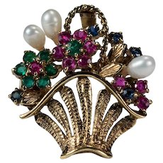 Pearl Emerald Ruby Sapphire Flower Basket 14k Gold Mixed Gemstone Pendant Enhancer Brooch