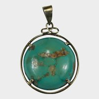 Antique Carico Lake Natural Turquoise 10k Gold Hand Crafted Pendant