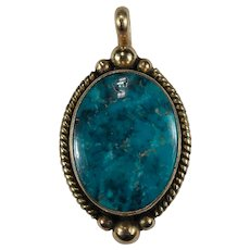 Native American Turquoise 14k Gold Signed Cortez Solitaire Pendant Natural Stone