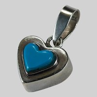 Carved Turquoise Heart 925 Sterling Silver Pendant