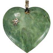 Large Natural Jade Heart Pendant 14k Gold Chinese Love Symbol