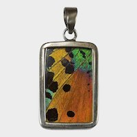 Rainbow Butterfly Wing Pendant Double Sided 925 Sterling Silver
