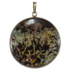Antique Plume Dendritic Agate Scene 10k Gold Pendant