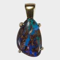 Natural Australian Boulder Opal Pendant 14k Gold Opal Slide Pendant