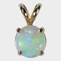 Precious Opal Pendant 14k Natural Opal Solitaire Cabochon