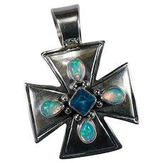 Jelly Opal Blue Topaz Maltese Cross Native American Signed Sterling Pendant