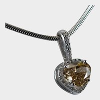 GIA Certified Natural Fancy Heart Diamond 1.59ctw 14k Gold 2ctw Pendant