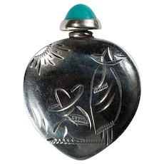 Turquoise Perfume Bottle 925 Sterling Silver Mexican Sombrero Scene Perfume Travel Bottle
