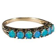 Art Deco Blue Opal Ring 14k Gold Engagement Ring Opal Band