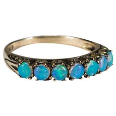Art Deco Blue Opal Ring 14k Gold Engagement Ring Opal Band
