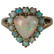 Natural Opal Heart Ring 14k Gold Halo Heart Opal Ring