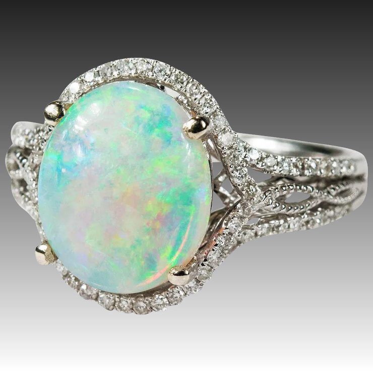 full emerald dinner engagement item birthstone opal diamond wedding ring rings natural f