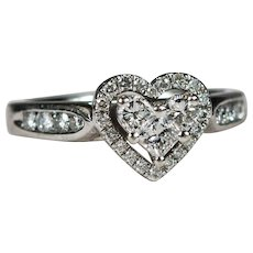 Heart Diamond Ring 14k Gold .95ctw Diamond Engagement Ring