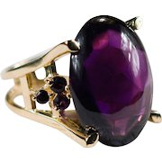 Amethyst Cabochon Ring 37ctw 18k Gold Huge Solitaire Amethyst Ring