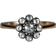 Old Rose Cut Diamond Ring 14k Gold Sterling Foil Back Old Rose Cut Diamond Flower Ring