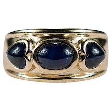 Vintage Heart Sapphire Ring 3.0ctw 14k Plumb Gold Cabochon Three Stone Sapphire Band