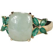 Vintage Hong Kong Jade Emerald Ring 14k Gold Flowers Green Jade Jadite Ring