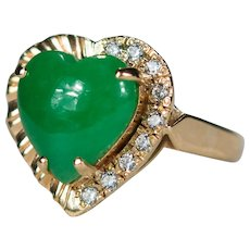 Fine Apple Jade Heart Old European Cut Clear Paste Stone Ring 18k Gold Custom Hand Crafted Ring